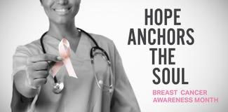 Imagen compuesta del mensaje de la conciencia del cáncer de pecho imágenes de archivo libres de regalías