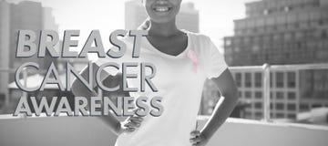 Imagen compuesta del mensaje de la conciencia del cáncer de pecho fotografía de archivo