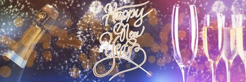 Imagen compuesta del mensaje de la Feliz Año Nuevo Imagen de archivo libre de regalías