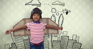 Imagen compuesta del muchacho sonriente que finge ser piloto Fotos de archivo libres de regalías