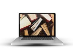 Imagen compuesta del ordenador portátil con con la pantalla ilustración del vector