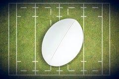 Imagen compuesta del primer de la bola de rugbi Fotos de archivo