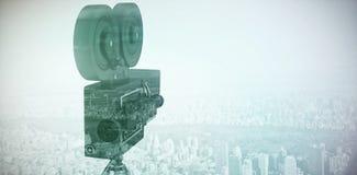 Imagen compuesta del primer de la cámara del rollo de película con el trípode Fotografía de archivo