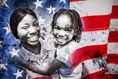 Imagen compuesta del primer de una bandera americana imagen de archivo