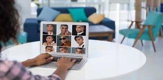 Imagen compuesta del retrato 3x3 del collage de la gente imagen de archivo