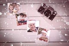 Imagen compuesta del retrato de la Navidad de la familia imagenes de archivo