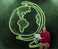 Imagen compuesta del retrato del hombre de negocios creativo que sostiene el ordenador portátil Foto de archivo