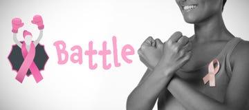 Imagen compuesta del texto de la batalla con la cinta femenina de la conciencia del cáncer de la semejanza y de pecho foto de archivo libre de regalías