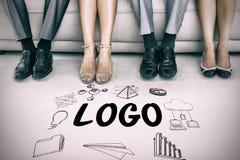 Imagen compuesta del texto del logotipo en medio de varios iconos Fotografía de archivo