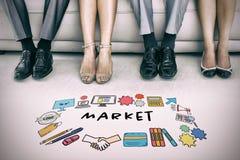 Imagen compuesta del texto del mercado en medio de diversos iconos Imagen de archivo
