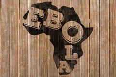 Imagen compuesta del texto negro del ebola en el esquema de África Fotografía de archivo libre de regalías