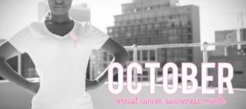 Imagen compuesta del texto rosado de la conciencia del cáncer de pecho fotografía de archivo