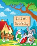 Imagen con el conejito de pascua y la muestra 8 stock de ilustración