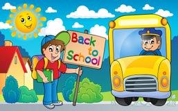 Imagen con el tema 6 del autobús escolar Fotografía de archivo