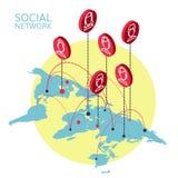 Imagen conceptual con las redes sociales plano Fotos de archivo