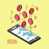 Imagen conceptual con las redes sociales plano Imágenes de archivo libres de regalías