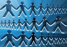 Imagen conceptual con las siluetas de la gente unida junto fotos de archivo
