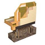 imagen conceptual 3d de la casa de marco del aislamiento y de la construcción de edificios Fotografía de archivo libre de regalías