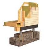 imagen conceptual 3d de la casa de marco del aislamiento y de la construcción de edificios Foto de archivo libre de regalías