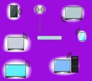Imagen conceptual de la red de los wi fi stock de ilustración