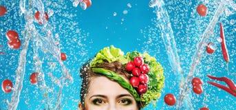 Imagen conceptual de las verduras de un vuelo Foto de archivo libre de regalías