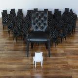Imagen conceptual de muchas sillas de cuero negras y del blanco una fotos de archivo libres de regalías