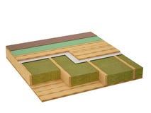 Imagen conceptual de un aislamiento de madera del techo Foto de archivo libre de regalías