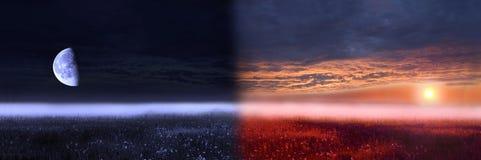 Imagen conceptual del día y de la noche. Imagenes de archivo