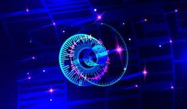 Imagen conceptual del fondo de los iconos digitales 3d stock de ilustración