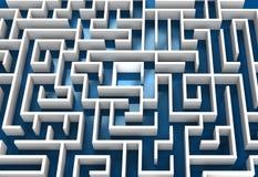 Imagen conceptual del laberinto con el piso azul Fotografía de archivo