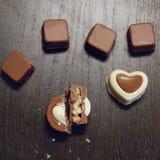 Imagen cuadrada de chocolates hechos en casa Imagen de archivo libre de regalías