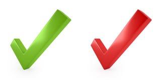imagen 3d de la marca de verificación roja y verde Imagen de archivo libre de regalías