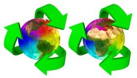 Tierra del planeta del arco iris del símbolo de Eco - Europa África América y Asia Fotos de archivo libres de regalías