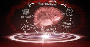 imagen 3d del cerebro rodeada con los diversos iconos en fondo oscuro Foto de archivo libre de regalías
