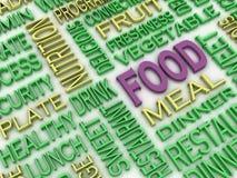 imagen 3d Lebensmittelkonzeptwort-Wolkenhintergrund Stockfotos