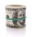 Imagen de 100 dólares de manojo aislado en blanco Fotografía de archivo