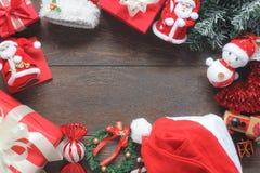 Imagen de arriba de la visión de la decoración y del ornamento de los accesorios por Feliz Navidad y Feliz Año Nuevo Fotografía de archivo libre de regalías