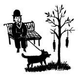 Imagen de dibujo de un hombre que se sienta en un banco de parque y que camina un perro por un árbol en el cual salchichas de la  Imagen de archivo libre de regalías