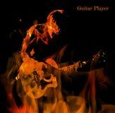 Imagen de Digitaces con el guitarrista de la roca en fondo negro Imagenes de archivo