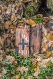 Imagen de dos pequeños pedazos de madera que mienten en las plantas, las hojas secadas y el musgo imagen de archivo