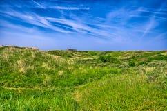 Imagen de fondo del campo de hierba enorme debajo de Mar del Norte del cielo azul, Z Imagen de archivo