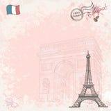 Imagen de fondo en Francia con la torre Eiffel Foto de archivo libre de regalías