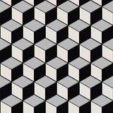 Imagen de fondo inconsútil de la línea cúbica blanca modelo del negro del vintage de la geometría Imágenes de archivo libres de regalías