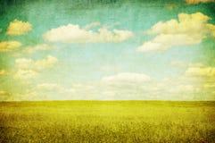 Imagen de Grunge del campo verde y del cielo azul Fotografía de archivo libre de regalías