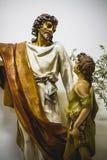 Imagen de Jesus Christ con la capa blanca, la adoración y la religión Imágenes de archivo libres de regalías