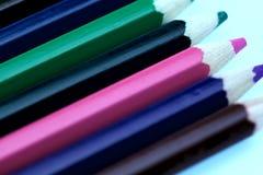 Imagen de lápices coloreados Fondo, textura, primer, tiro cosechado imagen de archivo