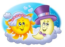 Imagen de la boda con Sun y la luna ilustración del vector