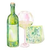 Imagen de la botella de vino de la acuarela, del queso verde y del vidrio del vino blanco Pintado a mano en una acuarela Fotos de archivo libres de regalías