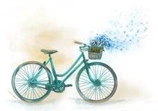 Imagen de la cesta de la pizca de la bicicleta de flores Fotografía de archivo