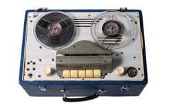 Imagen de la cinta de audio magnética soviética hecha en casa del vintage carrete-a-ree Fotografía de archivo libre de regalías